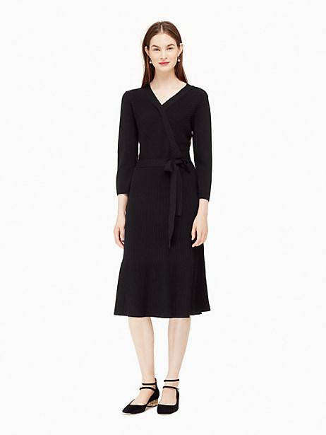 Kate Spade Rib Knit Wrap Dress, Black - Size L