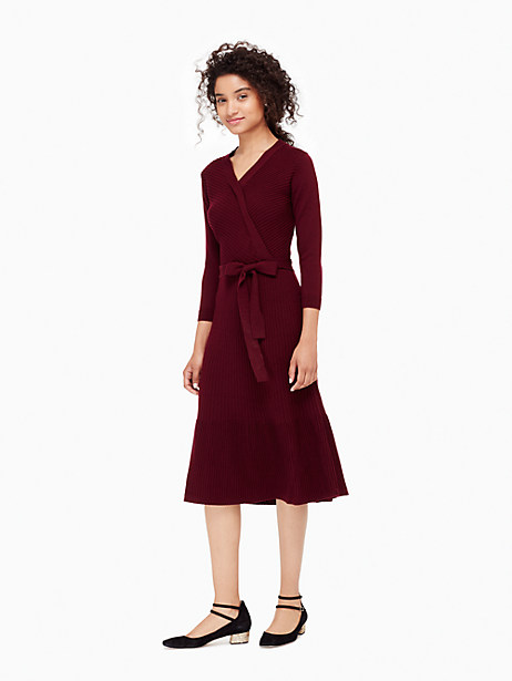 Kate Spade Rib Knit Wrap Dress, Midnight Wine - Size L