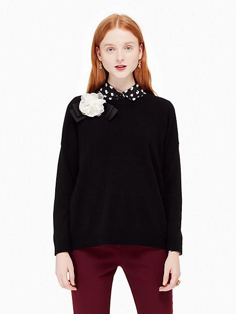 Kate Spade Rosette Bow Sweater, Black - Size L