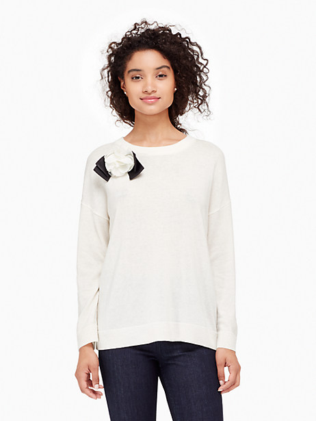 Kate Spade Rosette Bow Sweater, Cream - Size L
