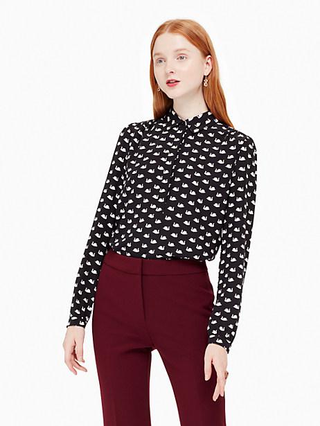 Kate Spade Swans Shirt, Black - Size L