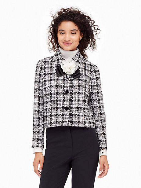 Textured Tweed Bow Jacket, Black/Grey - Size 0