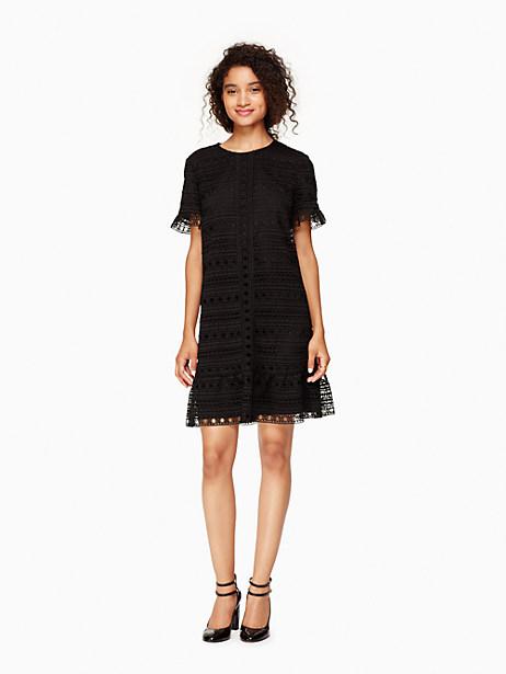 Kate Spade Mixed Lace Shift Dress, Black - Size 0