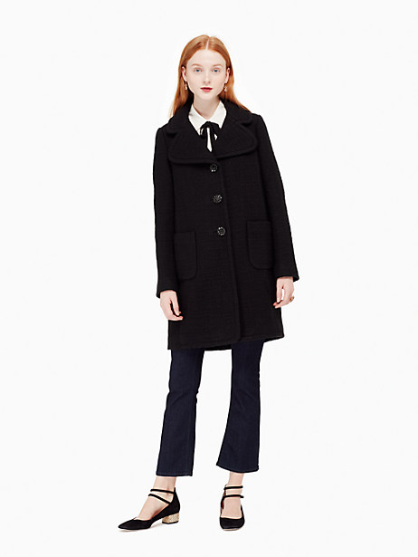 Kate Spade Jewel Button Boucle Coat, Black - Size 0