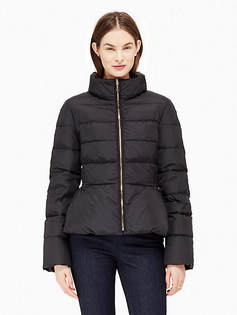 Peplum Puffer Jacket, Black - Size 2