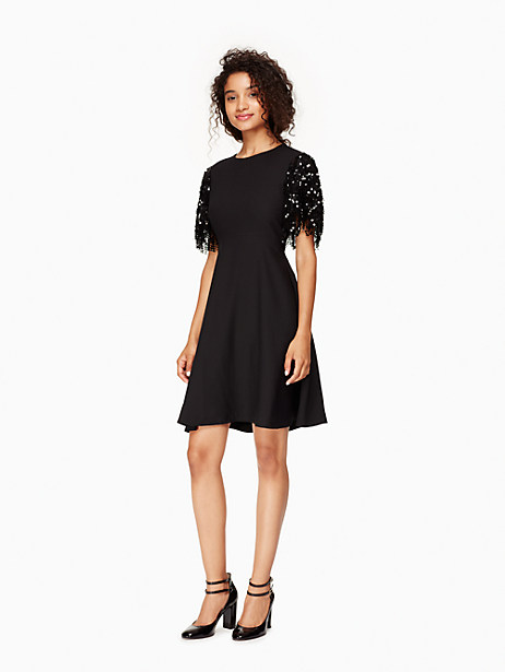 Kate Spade Sequin Fringe Swing Dress, Black - Size 0