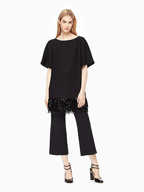 Kate Spade Sequin Fringe Tunic, Black - Size S
