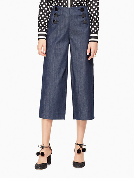 Kate Spade Button Front Wide Leg Jean, Dark Rinse - Size 28