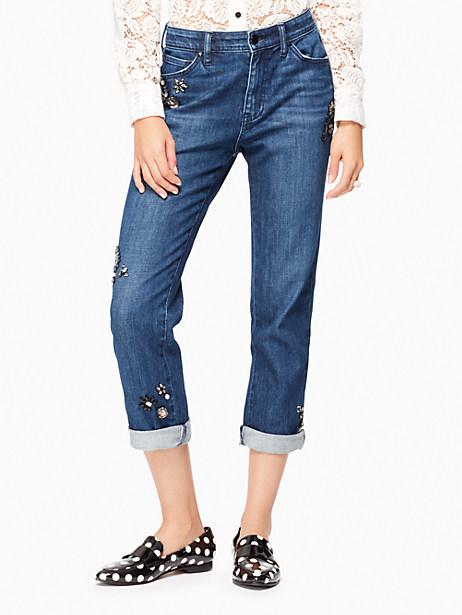 Kate Spade Embellished Jean, Medium Light Rinse - Size 25