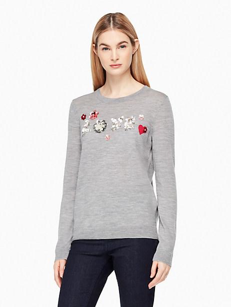 Kate Spade Embellished Love Sweater, Medium Grey Melange - Size L
