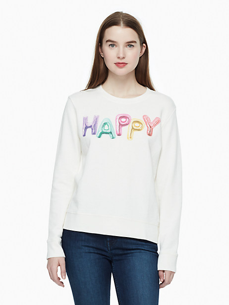 Kate Spade Happy Sweatshirt, French Cream - Size L