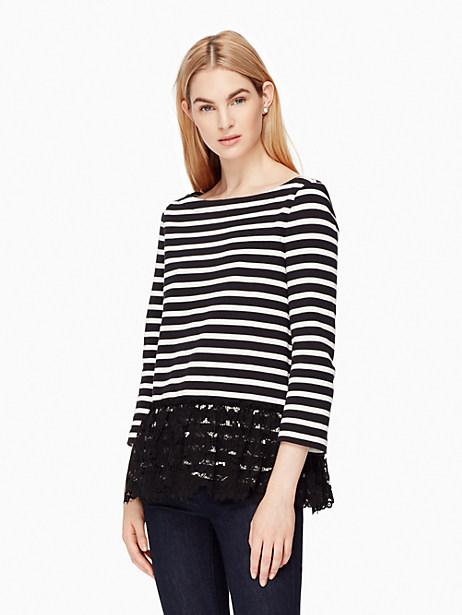 Kate Spade Lace Flounce Stripe Top, Black/Cream - Size L