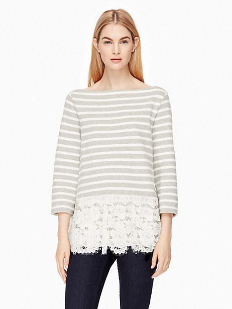 Kate Spade Lace Flounce Stripe Top, Grey Melange/Cream - Size L