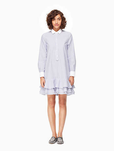 Kate Spade Pinstripe Ruffle Dress, Nightlife Blue/Fresh White - Size 0