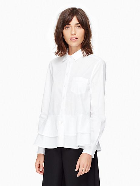 Kate Spade Poplin Ruffle Shirt, Fresh White - Size XL