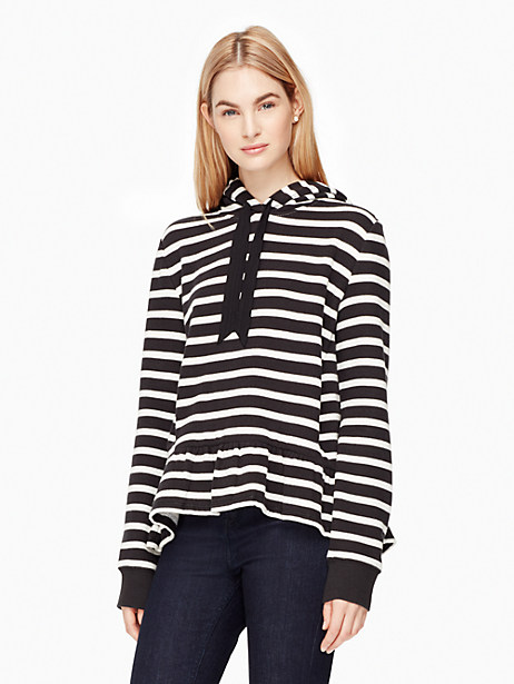 Kate Spade Stripe Hooded Sweatshirt, Black/Cream - Size L