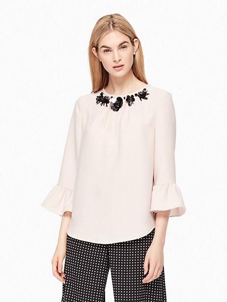 Kate Spade Embellished Crepe Top, Pink Champagne - Size L