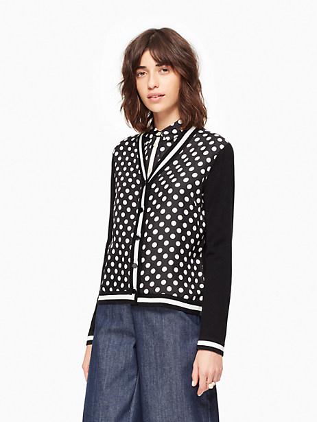 Kate Spade Dot Stripe Cardigan, Black/Cream - Size L