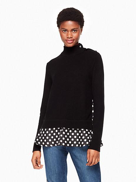 Kate Spade Polka Dot Sweater, Black/Cream - Size XS