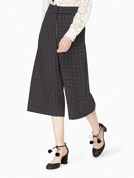 Kate Spade Pin Dot Crepe Culotte, Black/Cream - Size 12