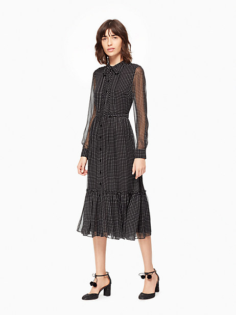 Kate Spade Pin Dot Chiffon Shirtdress, Black/Cream - Size 00