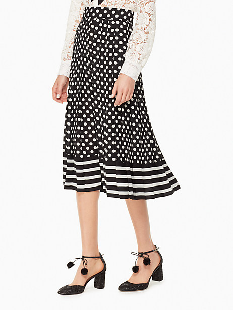 Kate Spade Dot Stripe Pleated Skirt, Black/Cream - Size 10