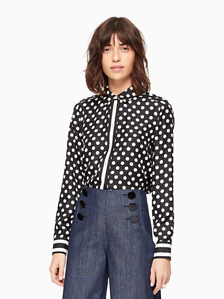 Kate Spade Dot Stripe Silk Shirt, Black/Cream - Size L