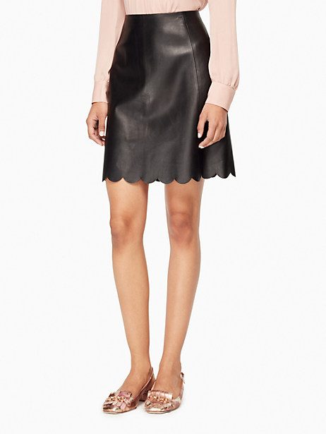 Kate Spade Scallop Leather Skirt, Black - Size 6