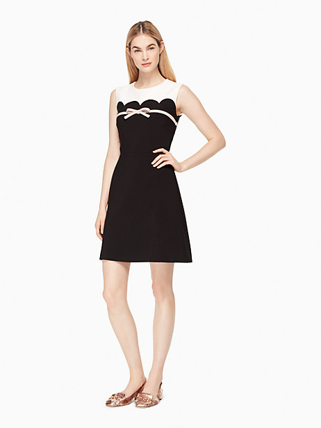 Kate Spade Scallop Bow A-line Dress, French Cream/Black - Size 0