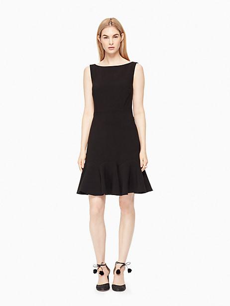 Kate Spade Crepe Flounce Dress, Black - Size 0