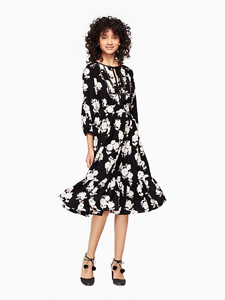 Kate Spade Posy Floral Silk Dress, Black - Size 0