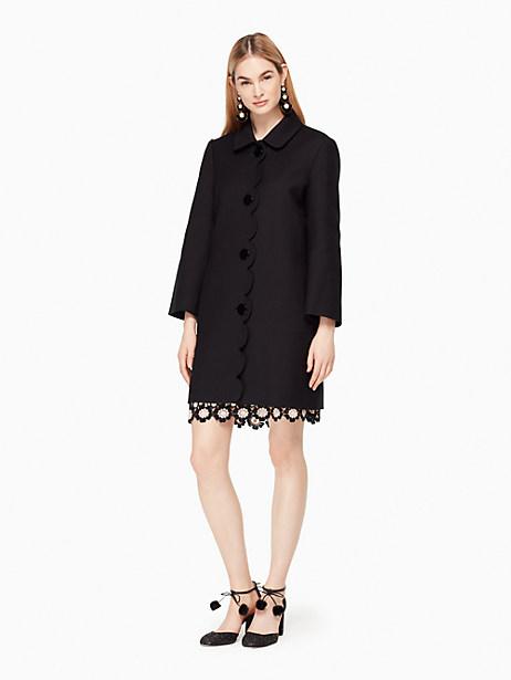 Kate Spade Scallop Twill Coat, Black - Size 0