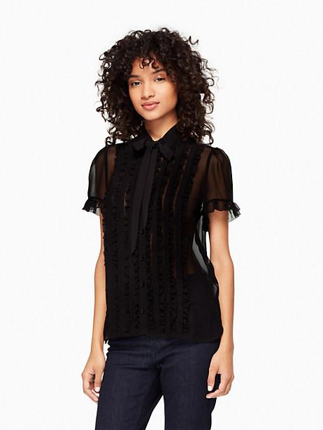 Kate Spade Ruffle Chiffon Shirt, Black - Size L