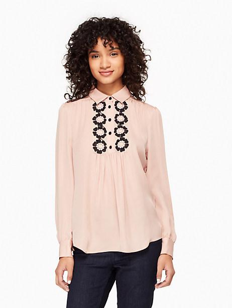 Kate Spade Daisy Lace Silk Shirt, Au Naturel - Size L