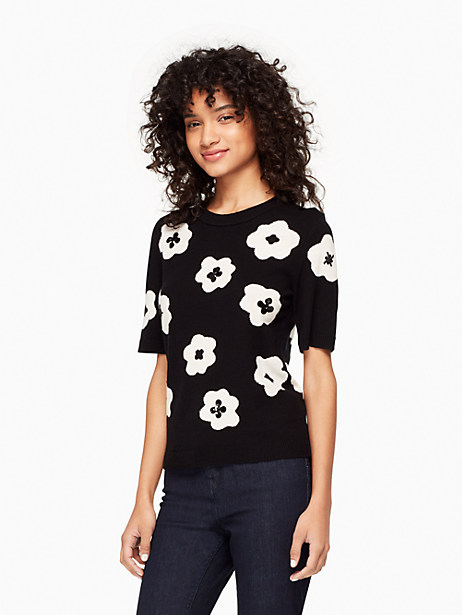 Kate Spade Floral Intarsia Sweater, Black/Cream - Size L