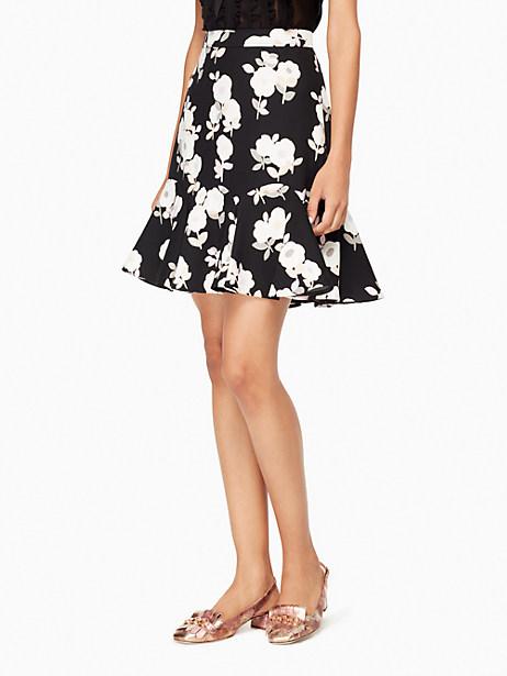 Kate Spade Posy Floral Flounce Skirt, Black - Size 0