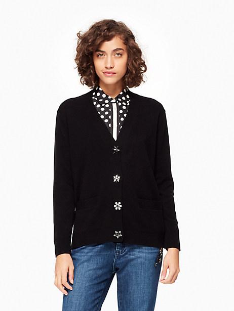 Kate Spade Embellished Button Cardigan, Black - Size L
