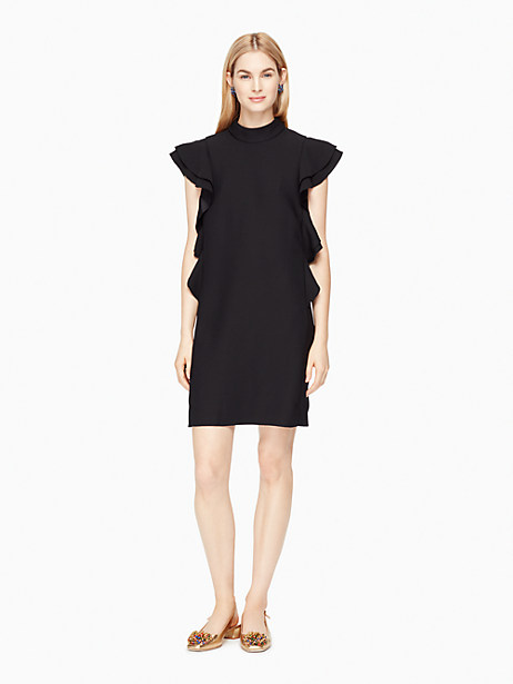 Kate Spade Satin Crepe Flutter Sleeve Dress, Black - Size 0