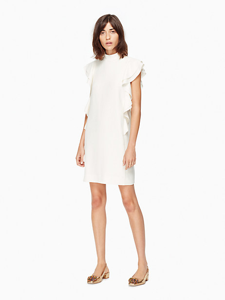 Kate Spade Satin Crepe Flutter Sleeve Dress, French Cream - Size 0