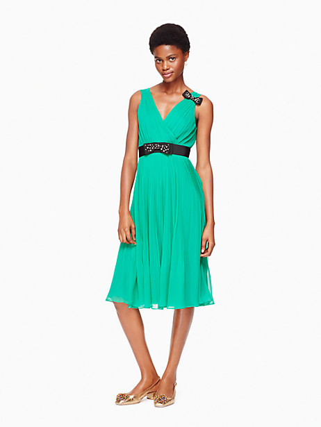 Kate Spade Embellished Bow Dress, Emerald Ring - Size 00