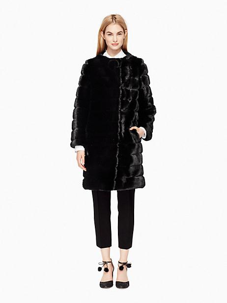 Kate Spade Faux Fur Coat, Black - Size 4