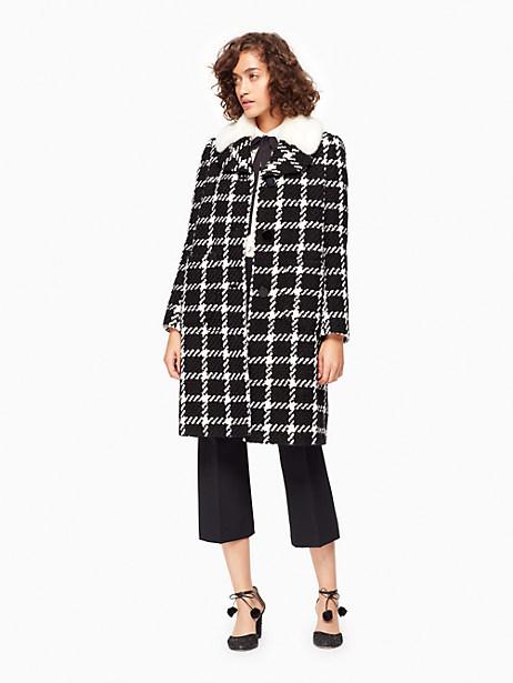 Kate Spade Faux Fur Collar Tweed Coat, Black/Cream - Size 10