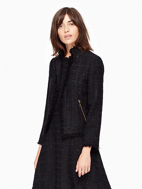 Shimmer Tweed Jacket, Black - Size 0