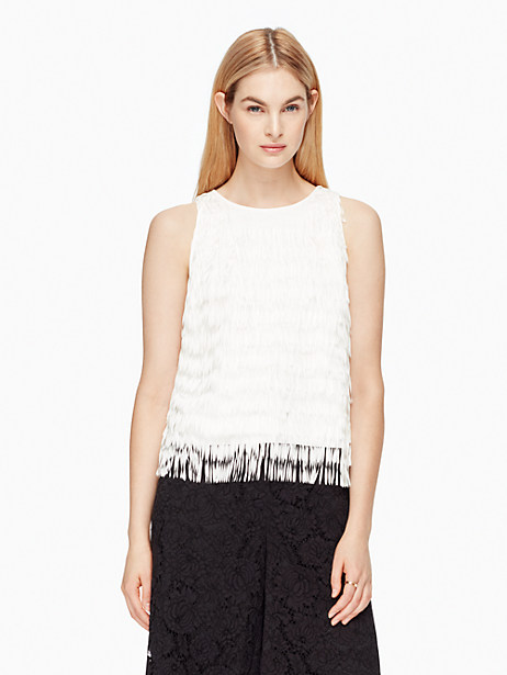Kate Spade Fringe Top, French Cream - Size L
