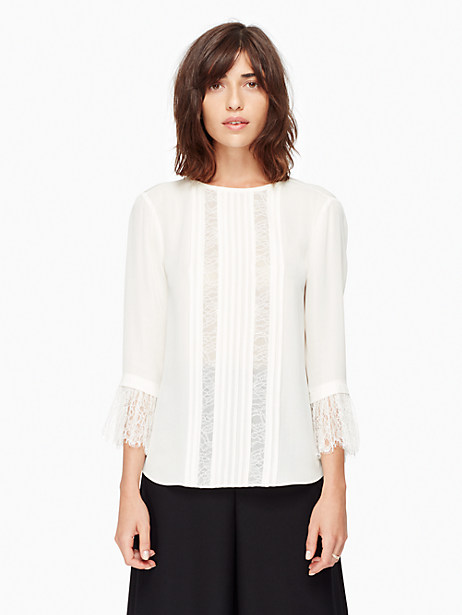 Kate Spade Lace Inset Silk Top, French Cream - Size L