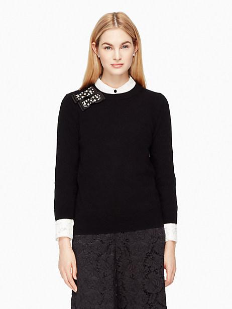 Kate Spade Embellished Bow Sweater, Black - Size L