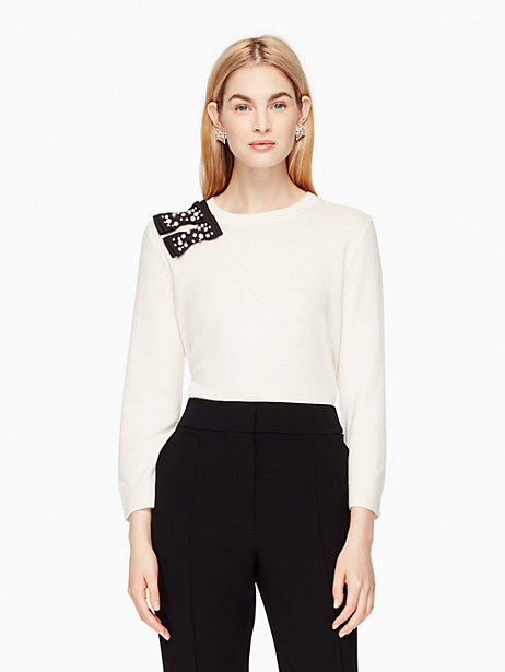 Kate Spade Embellished Bow Sweater, Cream - Size M