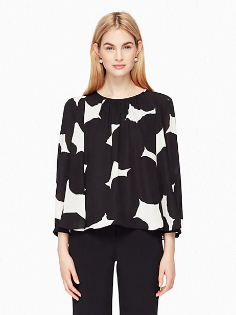 Kate Spade Blot Dot Swing Top, French Cream/Black - Size L