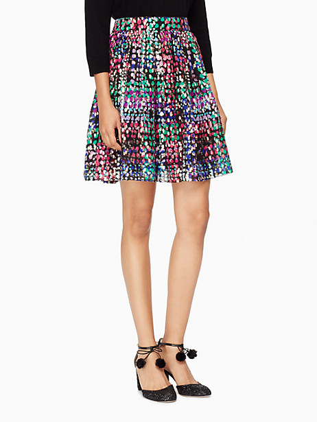 Kate Spade Metallic Multi Dot Skirt, Black - Size 0