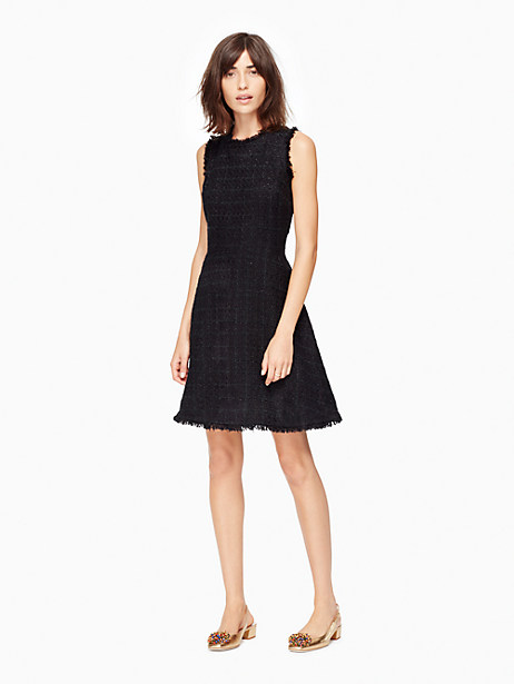 Kate Spade Shimmer Tweed Dress, Black - Size 14